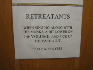 sign at retreat house