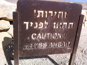 Sign at the top of the Wilderness of Zin.