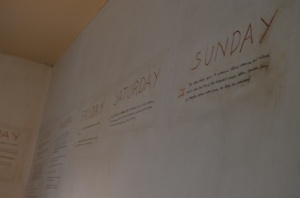Faulkner sketched out his storylines on his office wall.