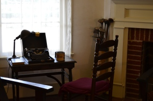 He used this small desk for most of his writing.  He would even take it outside to write.