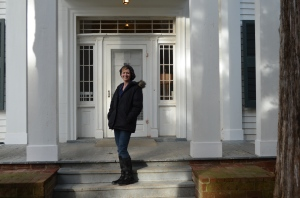 Me, a hopeful writer, on a great writer's front porch.