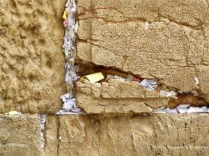 Prayers in the crevices of the Western Wall